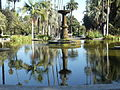 View of the fountain and reflection in the Will Rogers Memorial Park in Beverly Hills, California.JPG