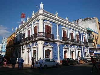 """Villahermosa - """"Casa de los azulejos"""", built in 1890 in the Historic centre of Villahermosa, combines Gothic and Moorish styles."""