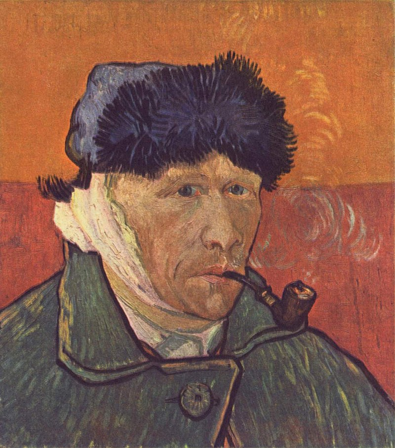 A portrait of Vincent van Gogh from the right; he is smoking a pipe, wearing a winter hat. His ear is bandaged and he has no beard.