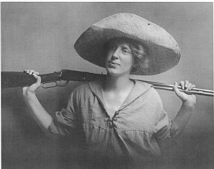 Violet Richardson Ward - Violet Richardson Ward while a member of the women's hiking club (the shotgun is for the snakes)
