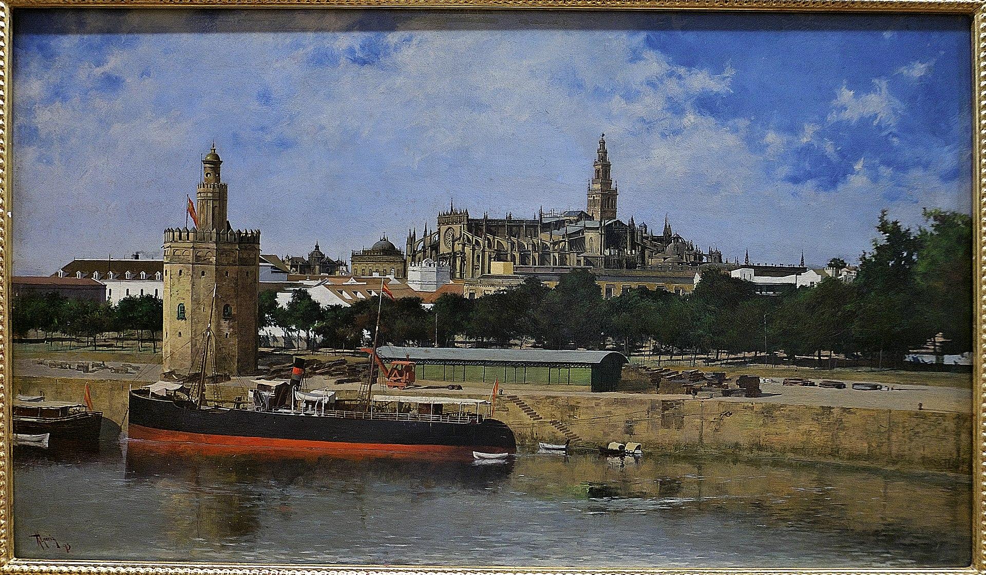 Vista de la Catedral de Sevilla desde el Guadalquivir, Nicolás Jiménez Alpériz.jpg