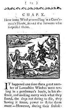 Miniatura che raffigura le streghe in volo verso il sabba, presente nel libro The Famous History of Lancashire Witches, 1780