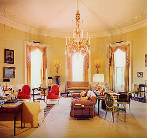 Yellow Oval Room - The Yellow Oval Room during the administration of President John F. Kennedy, as decorated by Sister Parish and Stéphane Boudin.