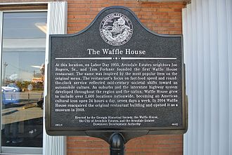 Waffle House - Plaque commemorating the first Waffle House restaurant.
