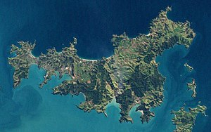 Waiheke Island - Landsat image of the island, August 2002