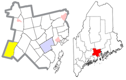 Location of Palermo (in yellow) in Waldo County and the state of Maine