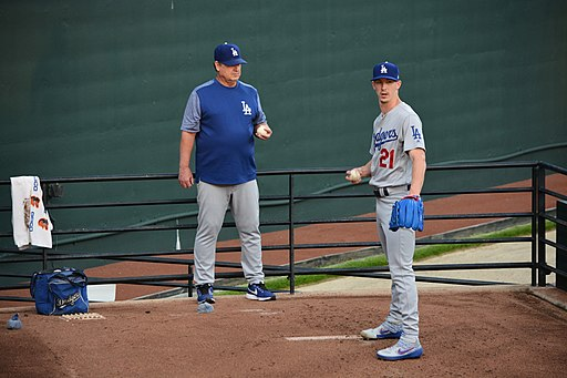 Walker Buehler pitching in bullpen for the Los Angeles Dodgers in 2019