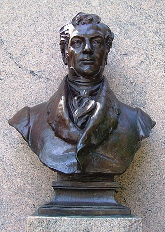 Washington Irving Memorial - Irving as depicted by French