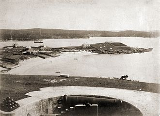 Nicholas Miklouho-Maclay - The Marine Biological Station (centre of photo) at Watson's Bay circa 1881.