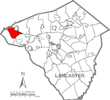 Map of Lancaster County, Pennsylvania highlighting West Donegal Township