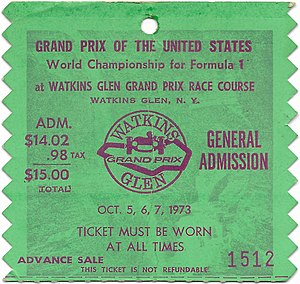 United States Grand Prix - Ticket stub from the 1973 USGP