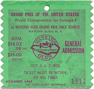 Watkins Glen International - 1973 United States Grand Prix ticket