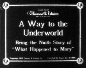 What Happened to Mary - Title card from an episode of the serial. Note that there is no question mark present in the series title.