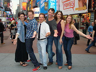 White's Lies - Cast members from the original production. From left:  From left: Christy Carlson Romano, Jimmy Ray Bennett, Peter Scolari, Tuc Watkins, Rena Strober and Andrea Grano