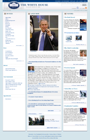 Whitehouse.gov - The website during the final days of the presidency of George W. Bush, January 20, 2009