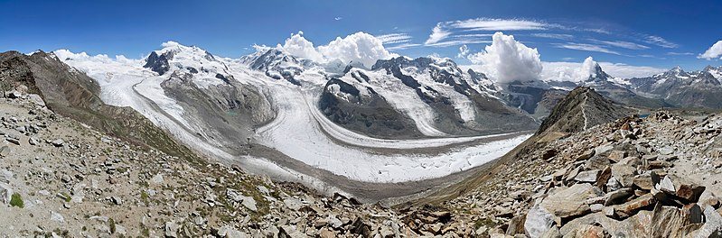 File:Wide view to Gornergletscher, Monte Rosa and Matterhorn, 2012 August.jpg