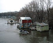 People live year-round in this community of boathouses on the Mississippi River in Winona, Minnesota