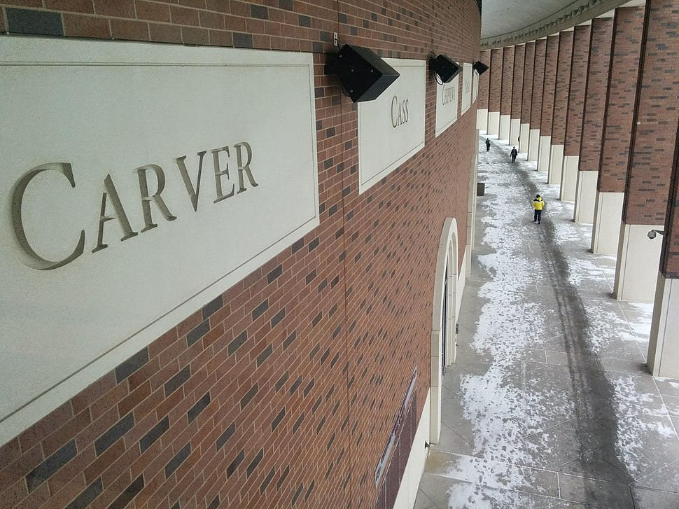 Winter at TCF Bank Stadium - county names carved in stone on building exterior
