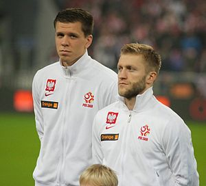 Wojciech Szczęsny - Szczęsny (left) with Jakub Błaszczykowski before an international friendly against the Republic of Ireland