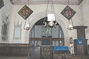 Woodeaton - Holy Rood: looking east to the 13th-century chancel arch