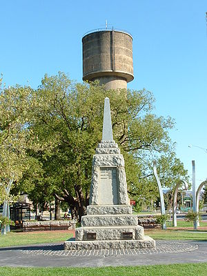 Wodonga - Wodonga water tower and War Memorial at Woodland Grove