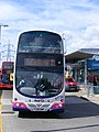 YJ09 OBR 37720 FIrst West Yorkshire. Canning Town Bus Station. ExCel Arena Shuttle service 21. (7706144588).jpg