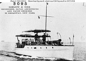 USS Sayona II (SP-1109) - Sayonara II as a private motorboat or motor yacht sometime between 1907 and 1917.