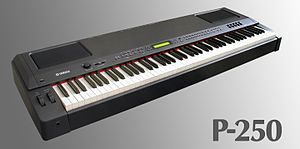 Stage piano - Yamaha P-250 - a digital stage piano. This piano is unusual in that it contains built-in powered speakers