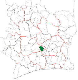 Location in Ivory Coast. Yamoussoukro Department has had these boundaries since 2009.