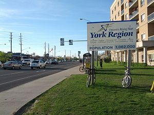 Regional Municipality of York - York sign, just north of Dufferin and Steeles.