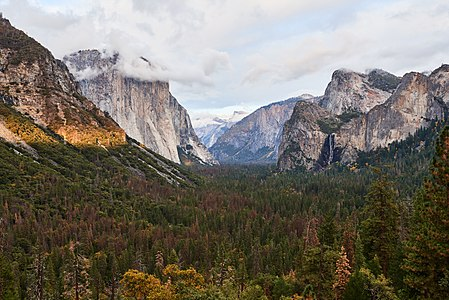 Cliche picture and viewpoint, but I think my light was better than most of the other pictures from tunnel view. Also, the clouds around El Capitan are quite nice, even so Half Dome is unfortunately not visible.