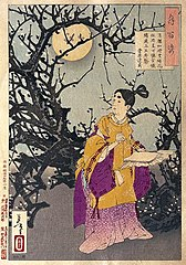 Michizane composes a poem by moonlight