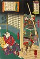 Yoshitsune with drawn sword in his room with Chohan outside.jpg
