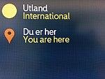 You are here - Du er her - information screen - terminal Bergen Airport Flesland Norway 2017-11-02 Utland International e.jpg