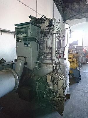 """Steam generator (railroad) - Zugheizkessel Bauart """"Köthen"""" im Sächsischen Eisenbahnmuseum Chemnitz"""