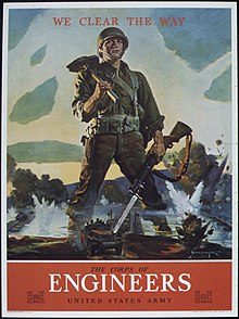 world war ii recruiting poster for combat engineers created by the us army corps of engineers