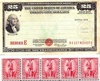 United States Savings Bonds - Post WWII $25 Series E US Savings Bond (1953) and strip of 10¢ US Savings Stamps