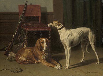 Hunting Companions, Dutch 19th-century painting featuring two dogs, a shotgun and a game bag 'Jachtgezellen' Rijksmuseum SK-A-1023.jpeg