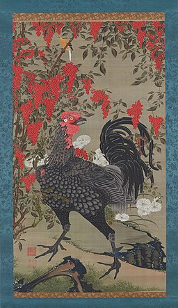 'Nandina and Rooster' from the 'Colorful Realm of Living Beings' by Ito Jakuchu