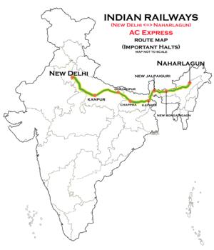 naharlagun new delhi ac sf express wikivisually Luxury Train to Tibet new delhi naharlagun ac express route map