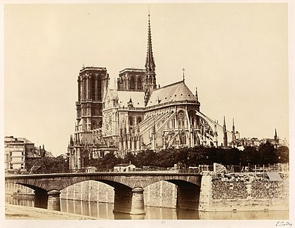 Apse of Notre-Dame in the 1860s. Edouard Baldus, Notre-Dame (Abside), 1860s - Metropolitan Museum of Art.jpg