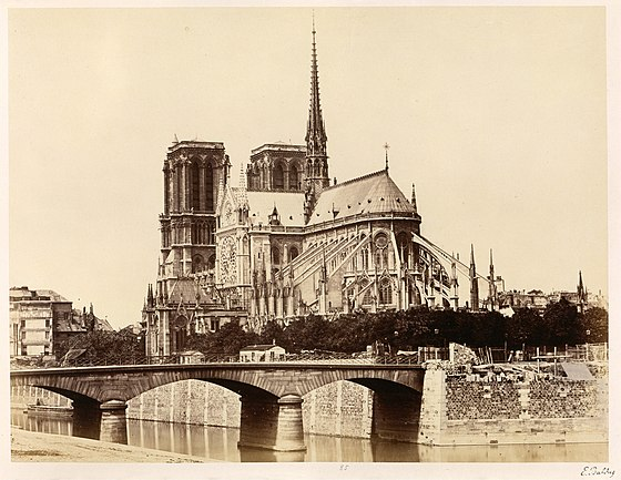 East facade of Notre-Dame in the 1860s. Edouard Baldus, Notre-Dame (Abside), 1860s - Metropolitan Museum of Art.jpg