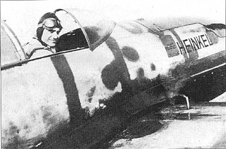 Heinkel He 100 - Hans Dieterle in the cockpit of He 100 V8 after the record flight on March 30, 1939.
