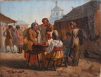 Kvass - Vassiliy Kalistov, Street vending of kvass (1862), Chuvash State Art Museum, Russia