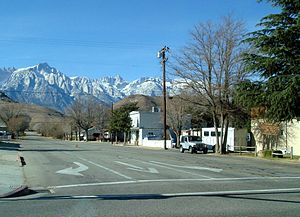 Lone Pine, California - Lone Pine Peak, just left of Mt. Whitney and the rest of the Sierra Nevada, dominates the views west of town