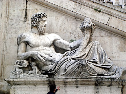 Roman representation of the god Tiber, Capitoline Hill in Rome