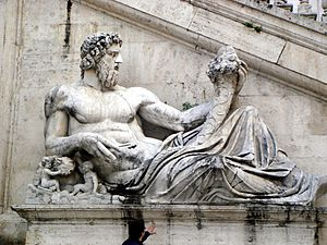 0142 - Roma - Piazza del Campidoglio - Statua del Tevere - Foto Giovanni Dall'Orto, 7-Apr-2008