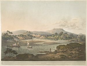 History of Pune - A water color painting of Pune from the late Peshwa era as seen from the confluence of the Mula and Mutha rivers, by British artist Henry Salt. The picture clearly shows the permanent features of the place, namely, the Mula-mutha river, Parvati Hill and the towering Sinhagad in the background