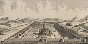 Vagharshapat - Engraving of Etchmiadzin by Jean Chardin, 1670s