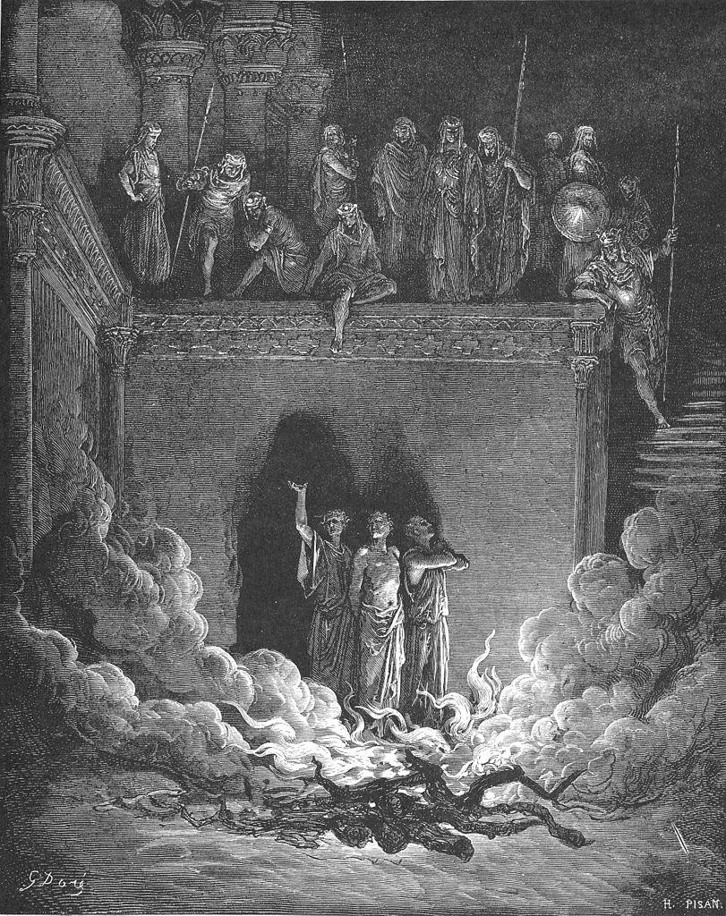 불 가운데의 사드락, 메삭, 아벳느고 (귀스타브 도레, Gustave Dore, 1865년)